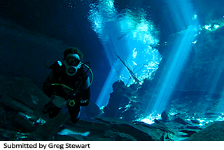 Submitted by Greg Stewart - Photo of Greg diving the cenotes in the Yucatan.